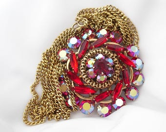 1950s Ruby Rhinestone Pendant Necklace, Retro Sweetheart Gift for Her, Vintage Estate Jewelry