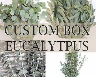CUSTOM BOX Fresh Eucalyptus - Silver Dollar, Seeded, Baby Blue, Willow/Feather - Bulk Greenery  (Free Shipping)