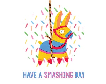 Birthday Card - Pony Piñata - Have a smashing day - funny pun card
