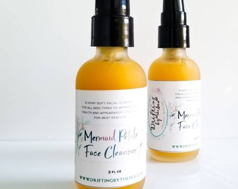 Mermaid Petals Organic Face Cleanser, Natural Face Wash, Organic Facial Cleanser, Essential Oil Cleanser, Sea Buckthorn Cleanser, Face Clean