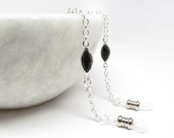 Silver and Black Eyeglass Chain with Black Swarovski; Reading Glasses Necklace; Eyeglass Holder; Silver Glasses Chain; Cord for Readers