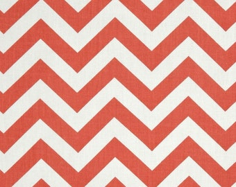 Coral and White Home Dec Fabric - One Yard - Premier Prints Fabric