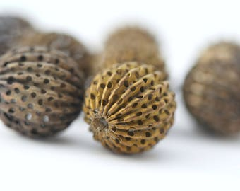 Vintage Fluted Round Large Brass Beads Corrugated Melon 17mm (6)