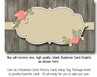 DYI Blank Business Card Template - Vintage Charm - Made to Match Etsy Sets and Facebook Timeline Covers