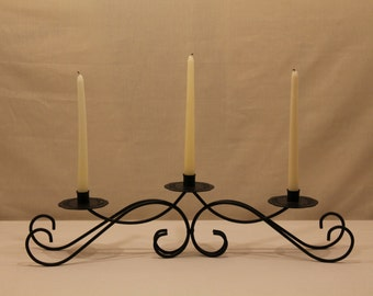 Candle holder centerpiece, metal art and home decor