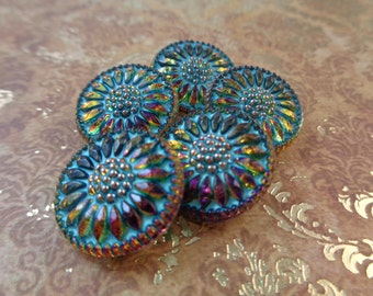 1 Turquoise Gold Flower Button 18mm Round Czech Glass Button Turquoise Gold Silver Flower Glass Button Turquoise Glass Button Metal #T1138
