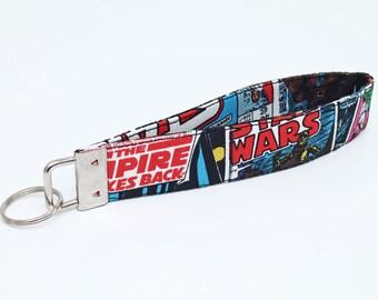 Star Wars Key Fob, Fabric Key Wristlet, Key Chain, Key Lanyard with Key Ring, Handmade Keyfob for Kids - star wars comics