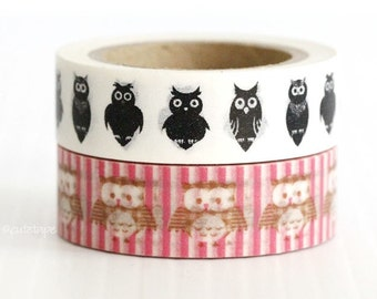 Owl Washi Tape Owl Brown Hot Pink and White Stripe