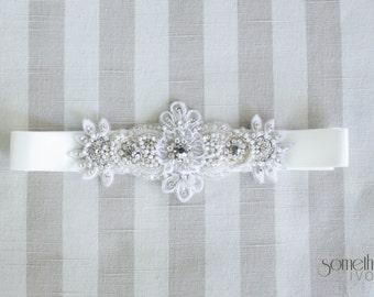 GEMMA - Beaded Bridal Sash, Wedding Belt