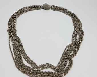 Classic Silver Tone Multi-Chain Necklace