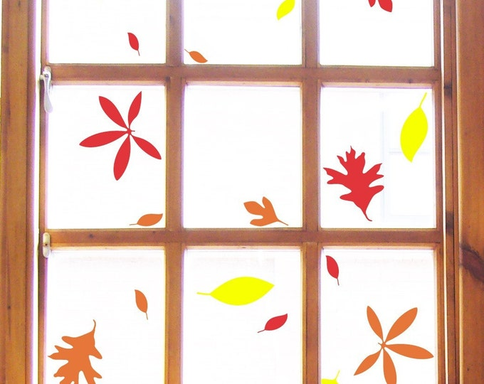 Autumn Leaves Stickers Wall or Window Decals (14 stickers)