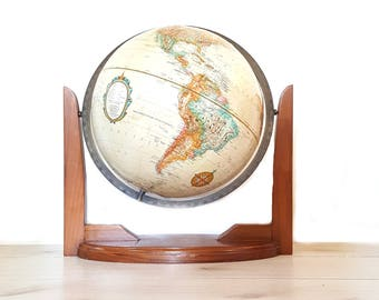 "Mid Century World Globe ~  Replogle 12"" Raised Relief World Globe (World Classic) Suspended In Modern Wood Stand"
