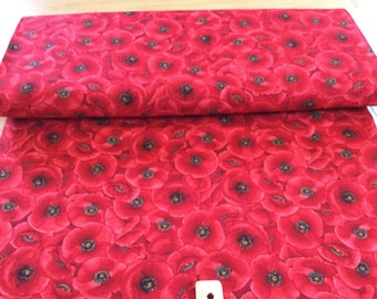 Packed Poppies Red Color ~ Timeless Treasures Collection, Cotton Quilt Fabric