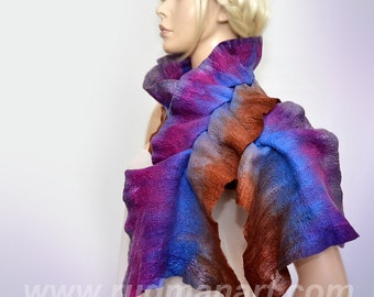 REDUCED Felted scarf Chocolate with Blueberries 3D ART wool silk hand dyed Purple Blue Brown