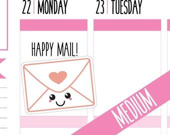 Happy Mail Planner Stickers, Delivery Stickers, Post, Mail Stickers, Kawaii, Medium, Happy Planner Stickers, Erin Condren Stickers