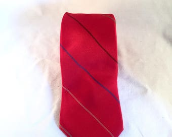 Vintage Red Stripe Skinny Tie