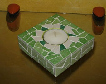 The Square candle holder green and white tone