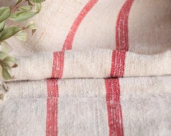 B 838: Sac de Grain antique lin, belle rouge délavé, oreiller benchcushion 리넨, lin, 48,82 long, mariage, décoration
