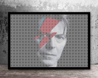 Ziggy Stardust de David Bowie Pop Art compté motif point de croix - numérique en format PDF
