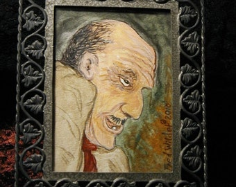 Miniature gothic horror painting in frame The Professor by Fred Wilder