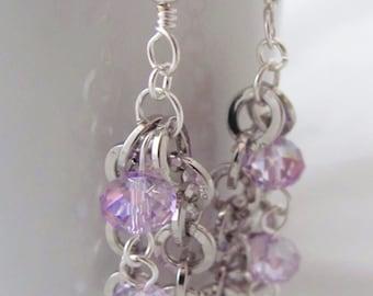 Purple Earrings Violet Earrings Amethyst Earrings Round Silver Chain Dangle Earrings