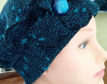 Beret Hat Royal Blue accented with turquoise dots
