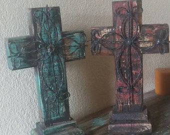 Turquoise or burgundy wood cross