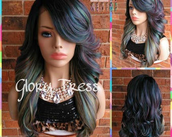 READY To SHIP // Long & Curly Lace Front Wig, Ombre Oil Slick Rainbow Hair, Dark Rooted Bombshell Wig // SALVATION