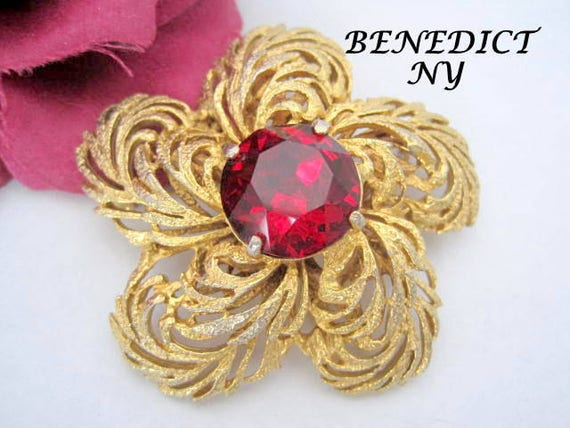 Benedikt NY Red Brooch, Vintage Flower Shaped Pin, Glamorous Love Symbol