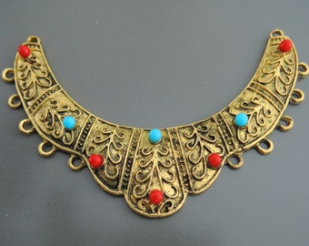 Cresent Moon Pendant Tribal Turquoise Antique Gold Brass Connector Ornate Necklace Finding Ethnic Jewelry Component Turquoise Red Necklace