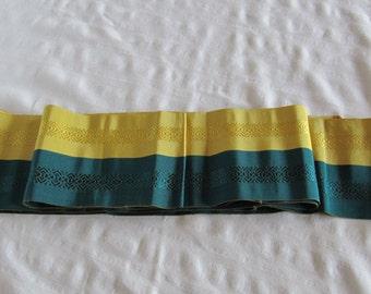 Vintage Japanese Obi Sash Belt Kimono Yukata Teal Yellow