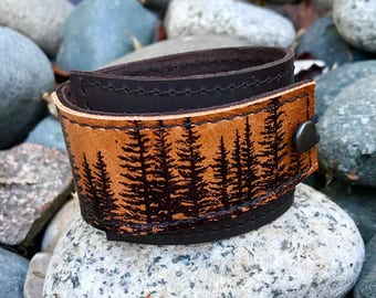 Leather Cuff Bracelet Wrap, Wilderness Pine Tree Print in Brown & Sienna