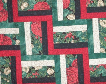 Handmade Quilt Twin or Lap Red Green Black Beige Rail Fence Quiltsy