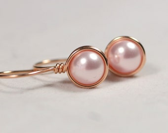 Rose Gold Pink Pearl Earrings Wire Wrapped Jewelry Rose Gold Pearl Earrings Rose Gold Jewelry Bridal Pearl Earrings Rosaline Swarovski Pearl