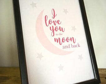 I love you to the moon and back - Framed Print - Pink