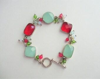 Vintage Sterling Bracelet Red and Green Jade Faceted Stones Bezel Set