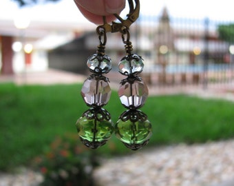 Sun Catcher Earrings in Stacked Spring Colors Light Blue, Rose Pink and Spring Green