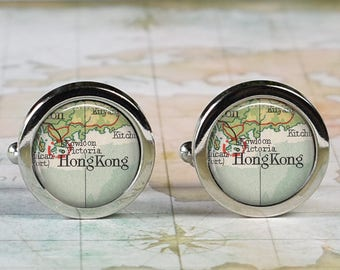 Hong Kong cuff links,  Hong Kong map cufflinks wedding gift anniversary gift for groom or groomsmen best man Father's Day gift