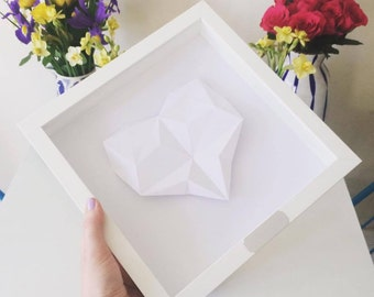 Framed Personalised Origami Heart - You choose the colour - 1st Wedding/ Anniversary/ Engagement/ Wedding Gift