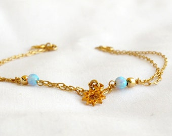 Nine pointed star Bahai bracelet with Blue Opals