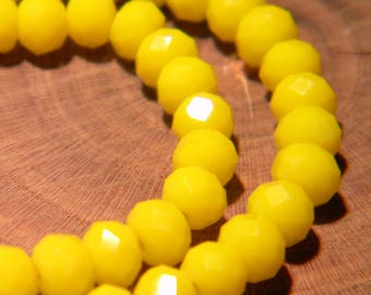 "40 glass beads pumpkin faceted - 6 mm - way ""jade"" - yellow bright - G58"