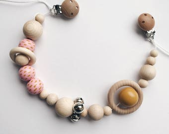 Hand Painted stroller Necklace-Pink loves ochre