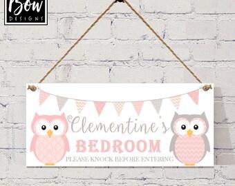 GIRLS BEDROOM door sign, OWLS personalised with your choice of name, bedroom door sign, girls bedroom plaque, pink grey