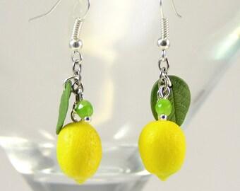 Lemon Earrings - Polymer clay jewelry  - Handmade lemon jewelry - Yellow citrus jewellery - Fruit earrings
