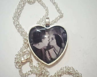 Herman and Lily Munster Heart Pendant Necklace