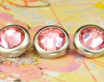 10 Rose Peach Crystal Hair Snaps - Round Silver Rim Edition -- Made with Swarovski Crystal Element Rhinestones