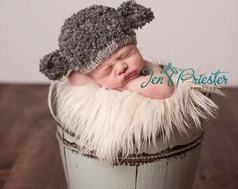SALE Baby hat lamb sheep hand knit curly hat newborn photo prop light grey dark charcoal gray boy girl unigender animal beanie with ears