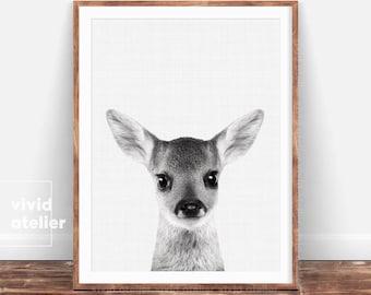 Nursery Decor, Fawn Baby Deer Print, Woodland Nursery Art, Black and White Animal Print, Forest Animal Printable, Nursery Wall Art