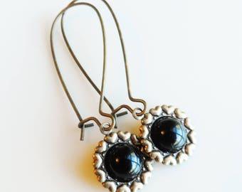 50% Off Clearance Sale, Black, Vintage Glass Earrings, Heart Pattern, Antique Brass