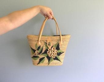Woven Straw and Yarn Handbag